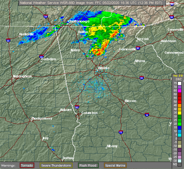 Radar Image for Severe Thunderstorms near Cumming, GA at 5/22/2020 12:41 PM EDT