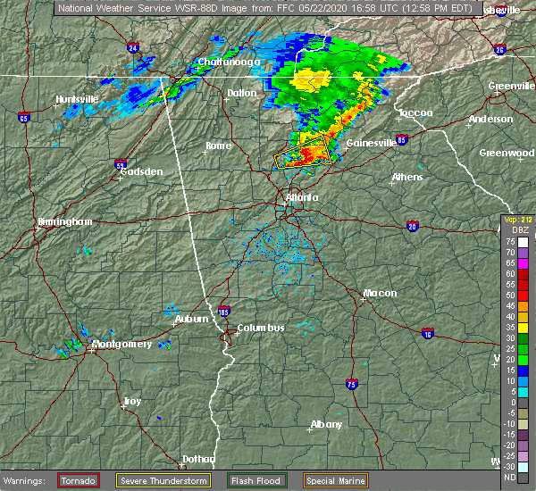Radar Image for Severe Thunderstorms near Cumming, GA at 5/22/2020 1:02 PM EDT