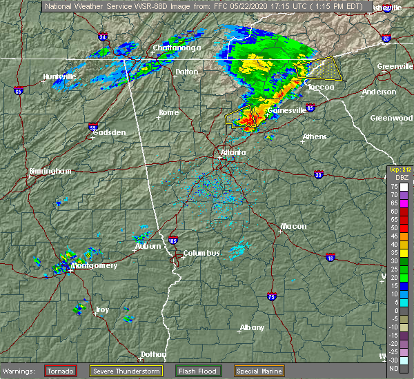 Radar Image for Severe Thunderstorms near Buford, GA at 5/22/2020 1:20 PM EDT