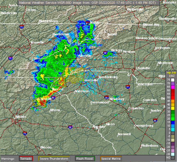 Radar Image for Severe Thunderstorms near Arial, SC at 5/22/2020 1:51 PM EDT