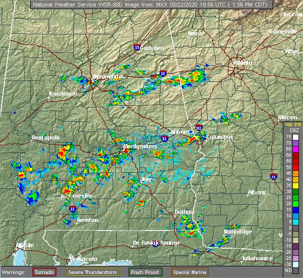 Radar Image for Severe Thunderstorms near Oak Hill, AL at 5/22/2020 1:58 PM CDT