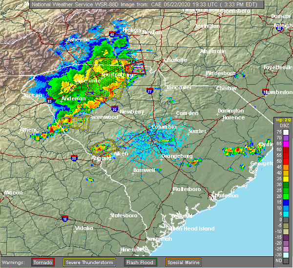 Radar Image for Severe Thunderstorms near Richburg, SC at 5/22/2020 3:40 PM EDT