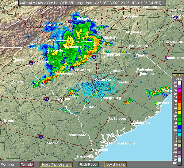 Radar Image for Severe Thunderstorms near Livingston, SC at 5/22/2020 4:14 PM EDT