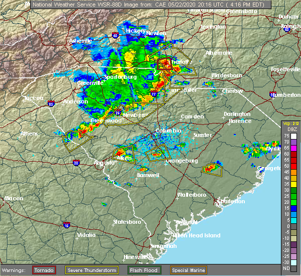 Radar Image for Severe Thunderstorms near Bonneau Beach, SC at 5/22/2020 4:26 PM EDT