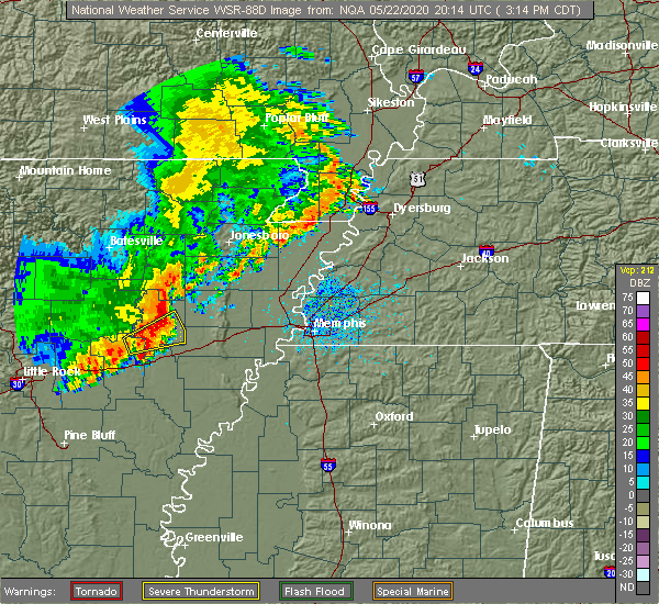 Radar Image for Severe Thunderstorms near Earle, AR at 5/22/2020 3:27 PM CDT