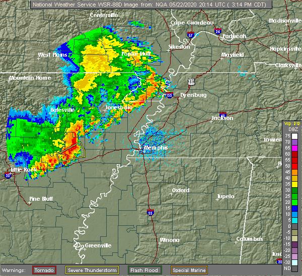 Radar Image for Severe Thunderstorms near Jennette, AR at 5/22/2020 3:27 PM CDT