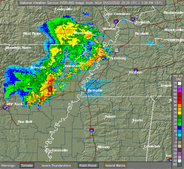 Radar Image for Severe Thunderstorms near Jennette, AR at 5/22/2020 3:31 PM CDT