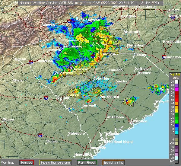 Radar Image for Severe Thunderstorms near Heath Springs, SC at 5/22/2020 4:34 PM EDT