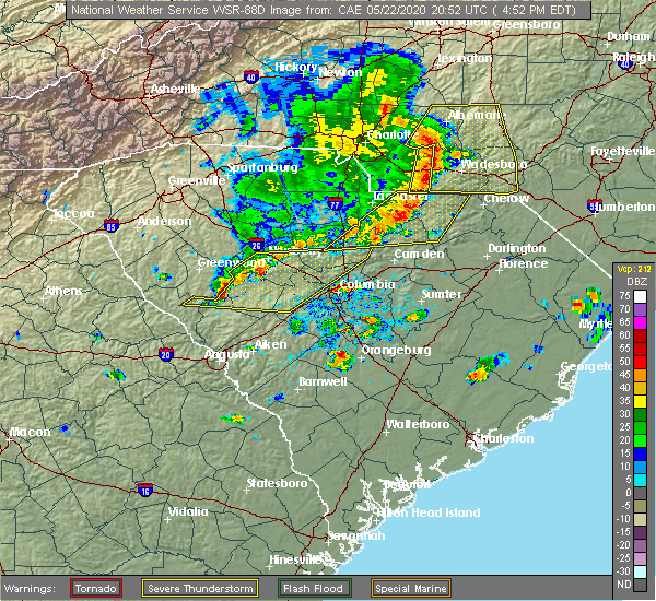 Radar Image for Severe Thunderstorms near Heath Springs, SC at 5/22/2020 4:57 PM EDT