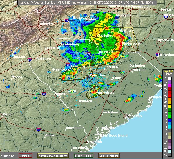 Radar Image for Severe Thunderstorms near Camden, SC at 5/22/2020 5:13 PM EDT