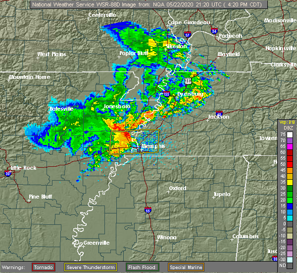 Radar Image for Severe Thunderstorms near Brighton, TN at 5/22/2020 4:23 PM CDT