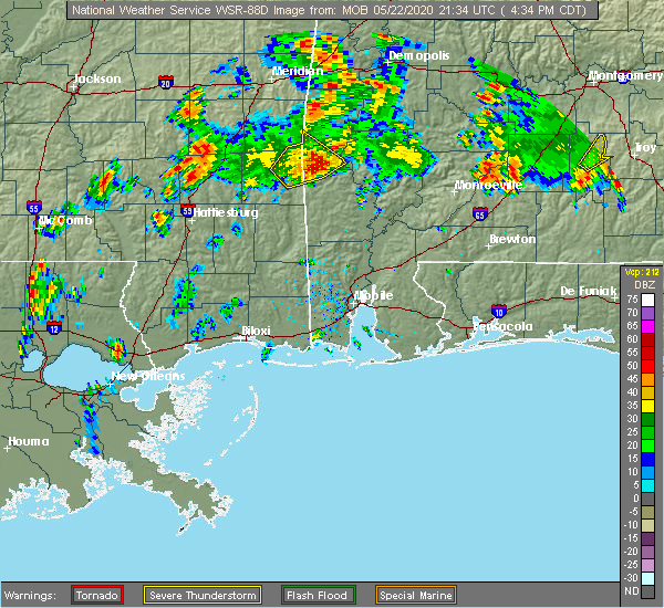 Radar Image for Severe Thunderstorms near Silas, AL at 5/22/2020 4:39 PM CDT