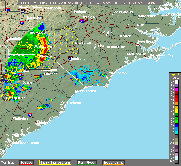 Radar Image for Severe Thunderstorms near Pembroke, NC at 5/22/2020 5:39 PM EDT