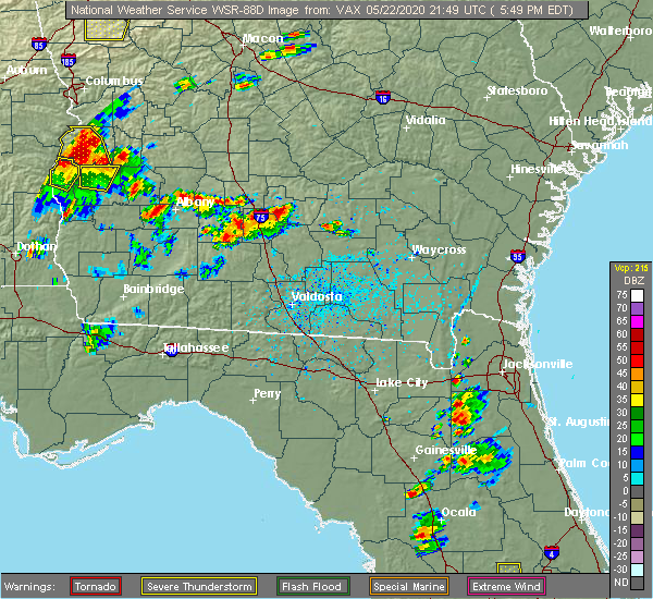Radar Image for Severe Thunderstorms near Fitzgerald, GA at 5/22/2020 5:54 PM EDT
