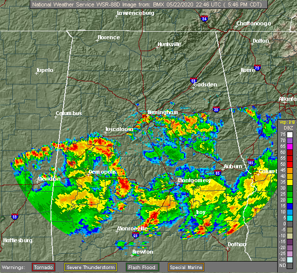 Radar Image for Severe Thunderstorms near McDonald Chapel, AL at 5/22/2020 5:55 PM CDT