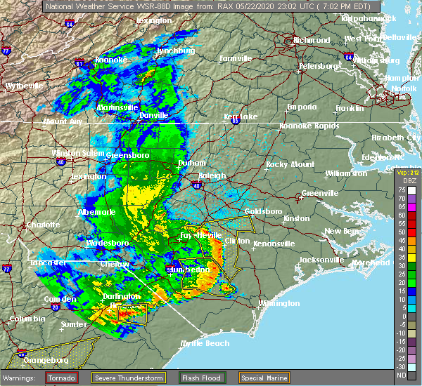 Radar Image for Severe Thunderstorms near Wallace, NC at 5/22/2020 7:08 PM EDT