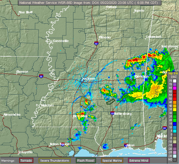 Radar Image for Severe Thunderstorms near New Hebron, MS at 5/22/2020 6:13 PM CDT