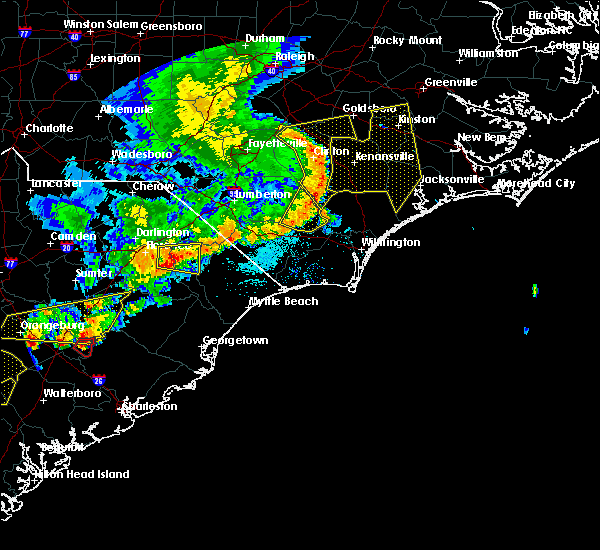 Radar Image for Severe Thunderstorms near East Arcadia, NC at 5/22/2020 7:15 PM EDT