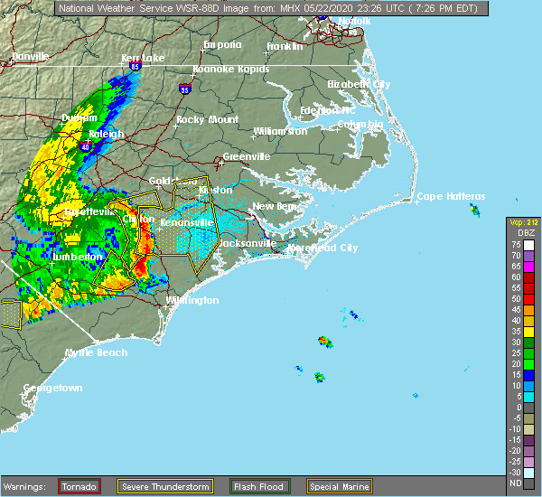 Radar Image for Severe Thunderstorms near Mount Olive, NC at 5/22/2020 7:32 PM EDT