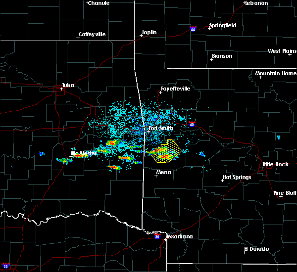 Radar Image for Severe Thunderstorms near Poteau, OK at 5/22/2020 7:14 PM CDT