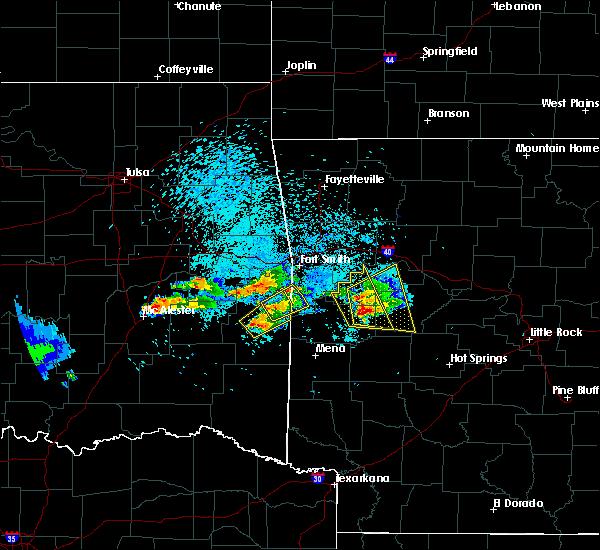 Radar Image for Severe Thunderstorms near Krebs, OK at 5/22/2020 8:13 PM CDT