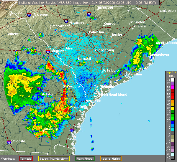 Radar Image for Severe Thunderstorms near Hinesville, GA at 5/22/2020 10:10 PM EDT