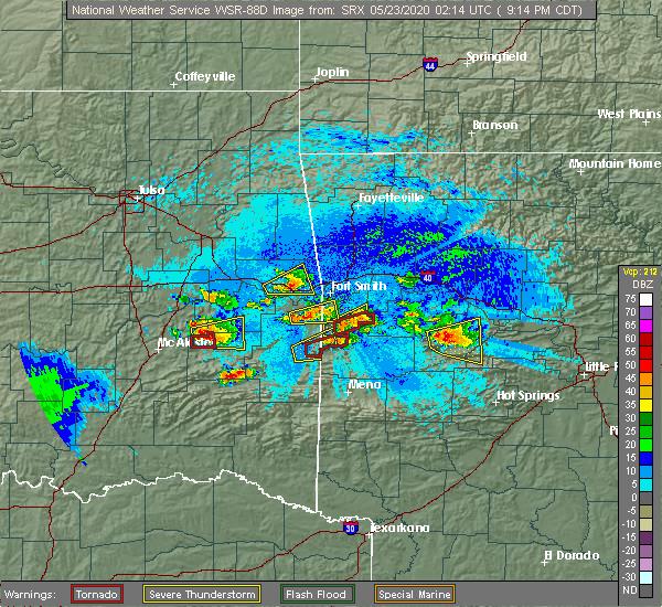 Radar Image for Severe Thunderstorms near Hartford, AR at 5/22/2020 9:21 PM CDT