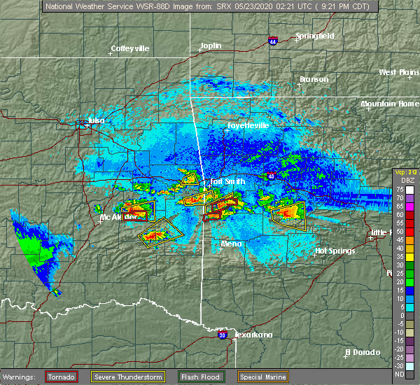 Radar Image for Severe Thunderstorms near Ratcliff, AR at 5/22/2020 9:29 PM CDT