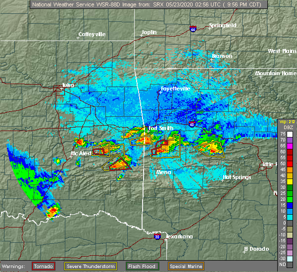 Radar Image for Severe Thunderstorms near Ratcliff, AR at 5/22/2020 9:59 PM CDT