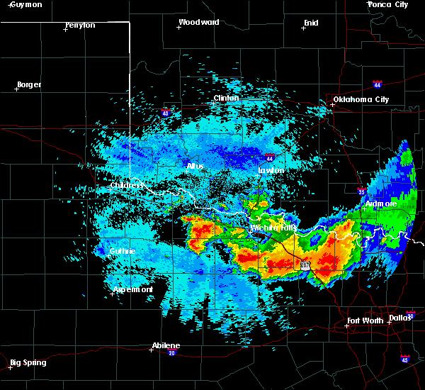 Radar Image for Severe Thunderstorms near Wichita Falls, TX at 5/22/2020 10:49 PM CDT