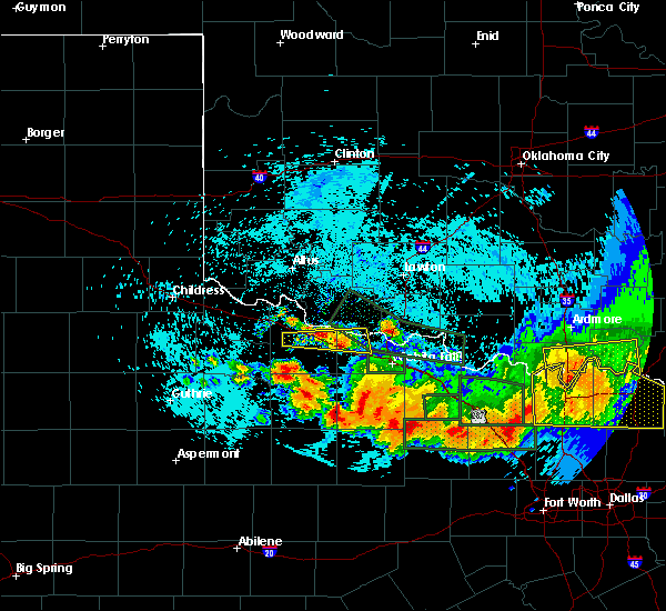 Radar Image for Severe Thunderstorms near Scotland, TX at 5/22/2020 11:42 PM CDT