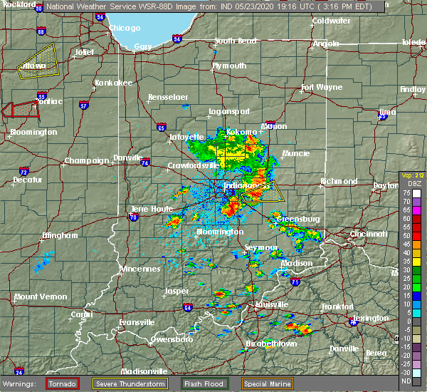 Radar Image for Severe Thunderstorms near Greenfield, IN at 5/23/2020 3:22 PM EDT