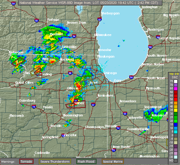 Radar Image for Severe Thunderstorms near Yorkville, IL at 5/23/2020 2:45 PM CDT
