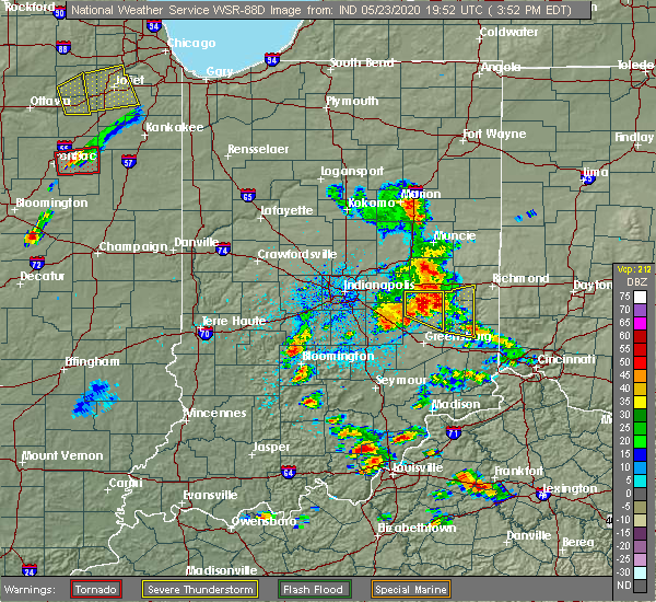 Radar Image for Severe Thunderstorms near Rushville, IN at 5/23/2020 4:00 PM EDT