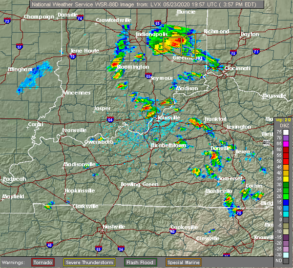 Radar Image for Severe Thunderstorms near Frankfort, KY at 5/23/2020 4:00 PM EDT