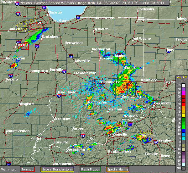 Radar Image for Severe Thunderstorms near Mount Auburn, IN at 5/23/2020 4:14 PM EDT