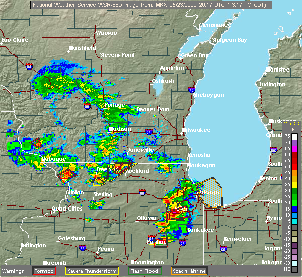 Radar Image for Severe Thunderstorms near Rockford, IL at 5/23/2020 3:25 PM CDT