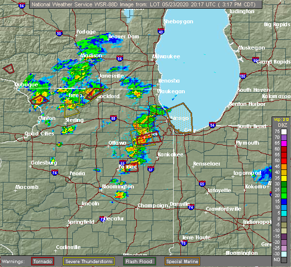 Radar Image for Severe Thunderstorms near Herscher, IL at 5/23/2020 3:30 PM CDT
