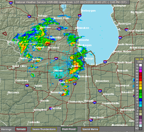 Radar Image for Severe Thunderstorms near Lakewood Shores, IL at 5/23/2020 3:51 PM CDT