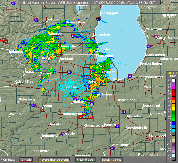 Radar Image for Severe Thunderstorms near Manhattan, IL at 5/23/2020 4:04 PM CDT