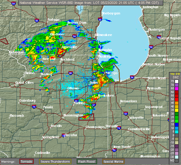 Radar Image for Severe Thunderstorms near Herscher, IL at 5/23/2020 4:12 PM CDT