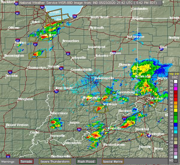 Radar Image for Severe Thunderstorms near Elizabethtown, IN at 5/23/2020 5:45 PM EDT