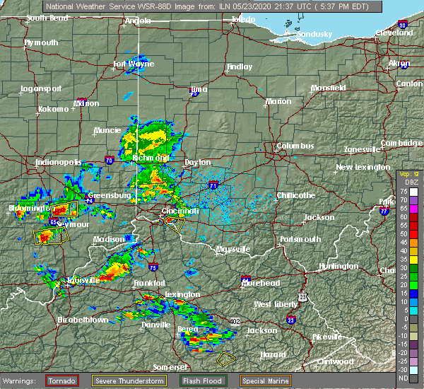 Radar Image for Severe Thunderstorms near Melbourne, KY at 5/23/2020 5:45 PM EDT