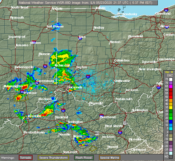 Radar Image for Severe Thunderstorms near California, KY at 5/23/2020 5:45 PM EDT
