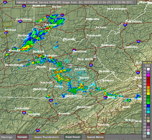 Radar Image for Severe Thunderstorms near Oneida, KY at 5/23/2020 5:57 PM EDT