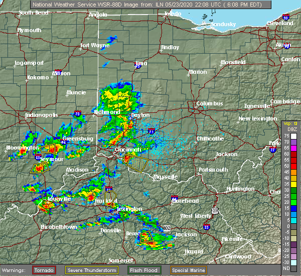 Radar Image for Severe Thunderstorms near Bethel, OH at 5/23/2020 6:29 PM EDT