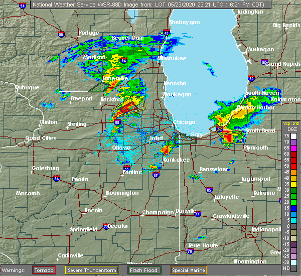 Radar Image for Severe Thunderstorms near Fox River Grove, IL at 5/23/2020 6:28 PM CDT
