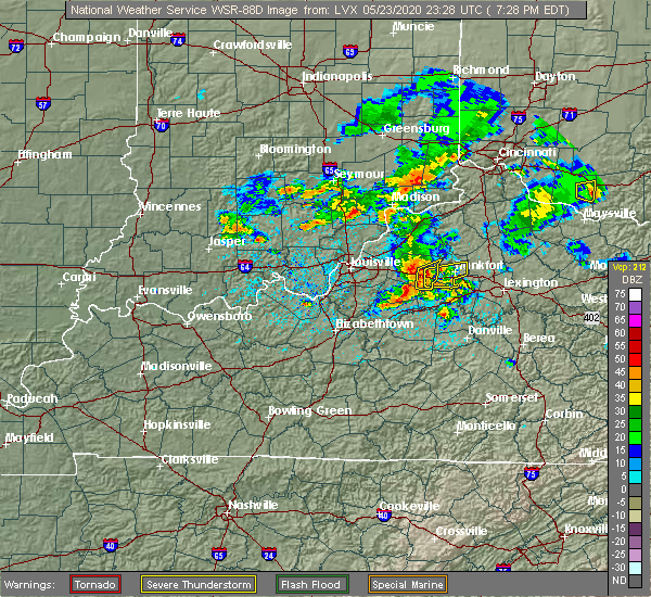 Radar Image for Severe Thunderstorms near Frankfort, KY at 5/23/2020 7:31 PM EDT