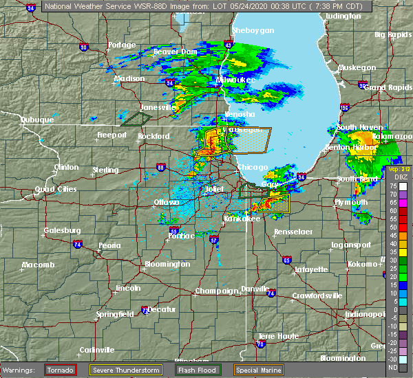 Radar Image for Severe Thunderstorms near Mundelein, IL at 5/23/2020 7:40 PM CDT