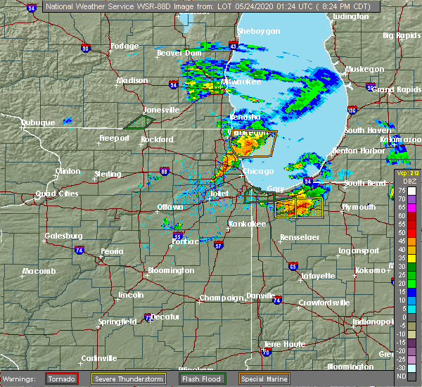 Radar Image for Severe Thunderstorms near Kouts, IN at 5/23/2020 8:44 PM CDT